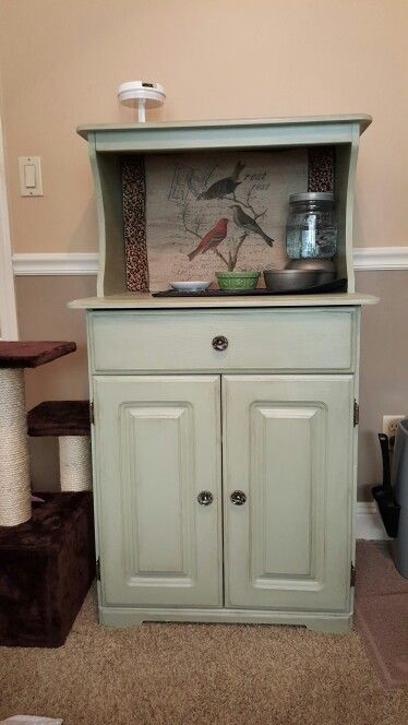 Chalk Painted Dog Proof Cat Feeding Station And Litter Box