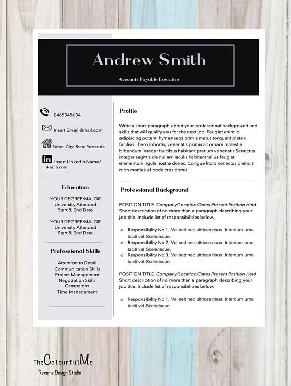 Professional Resume Template and Cover Letter for Word Resume