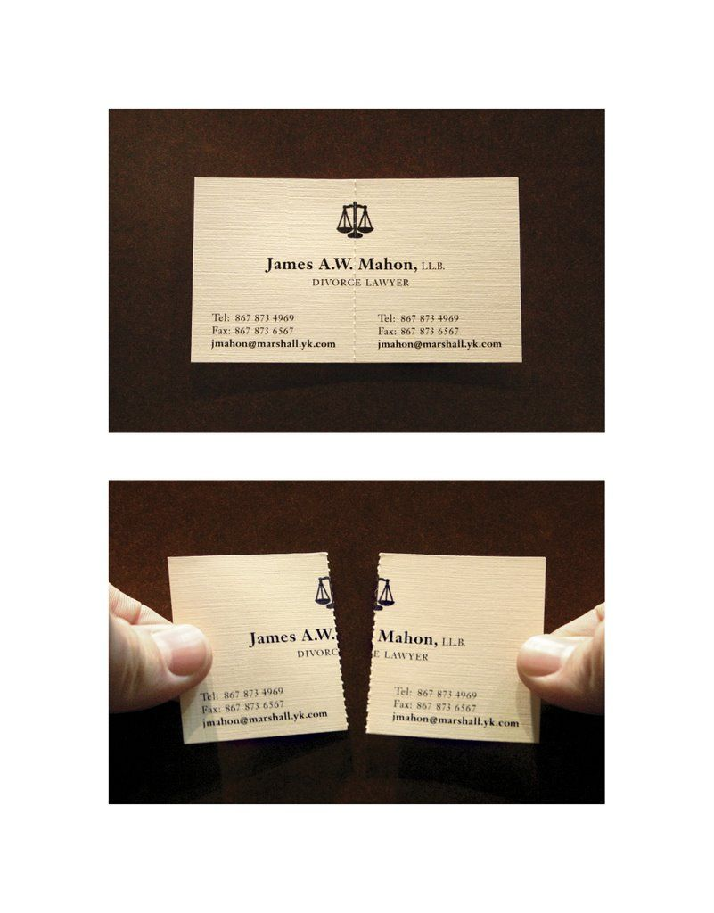 Business card for a divorce lawyer - Eight original business cards ...
