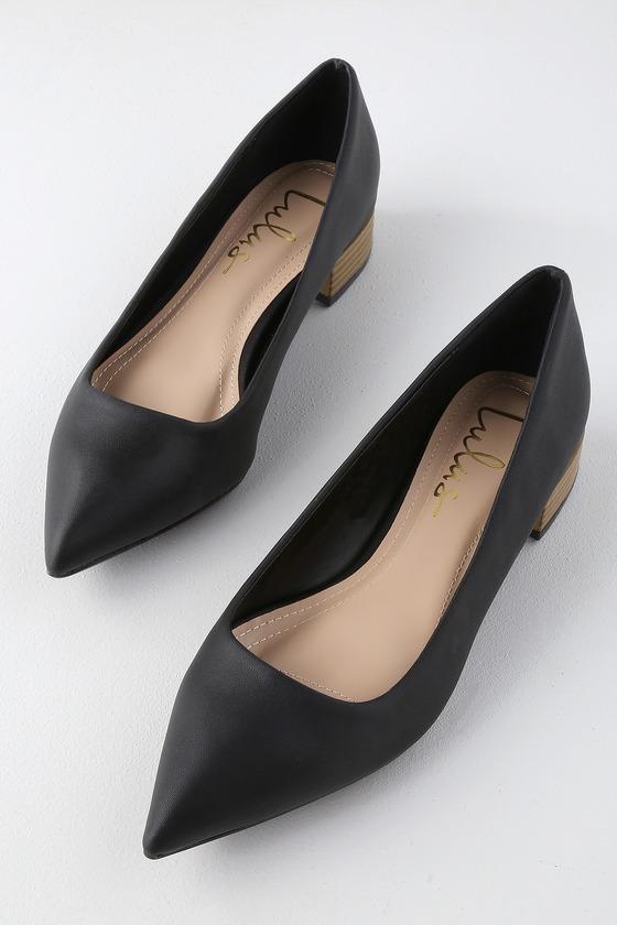 Alessia Black Low Pointed-Toe Heels in