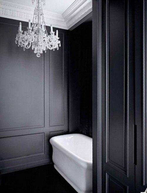 Luxury Chandelier Lighting Decor Designs Black White Bathrooms