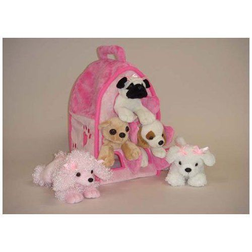 Plush Pink Dog House With Dogs Five 5 Stuffed Animal Dogs In