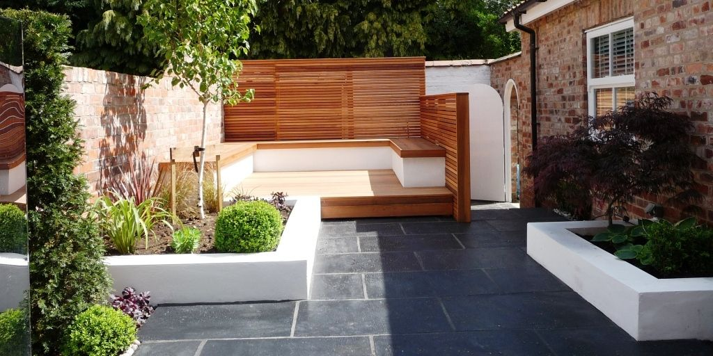 Contemporary garden red leaf gardens outdoors for Back garden designs