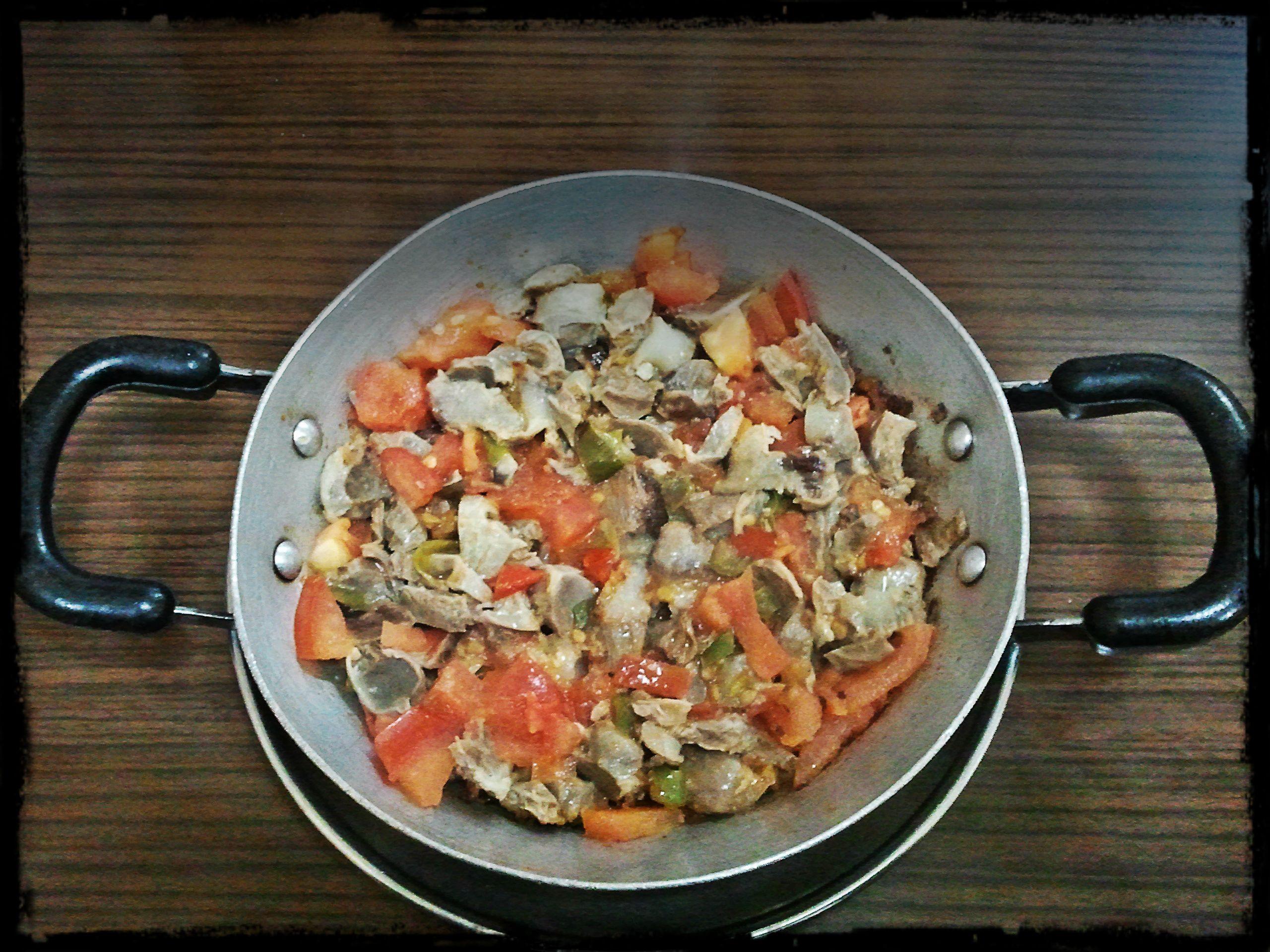 Chicken gizzard preparing of the chicken gizzard dish