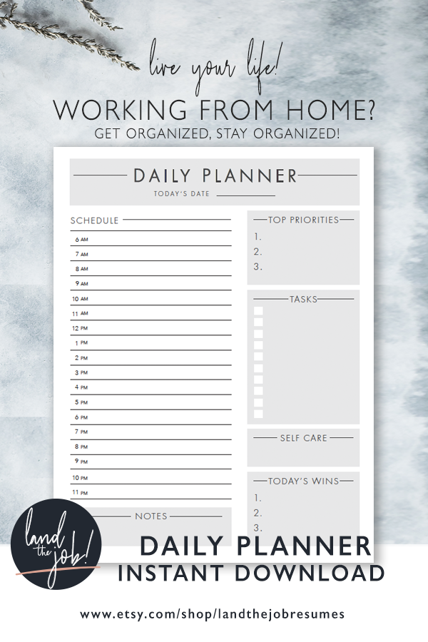 work from home daily planner, home office organization