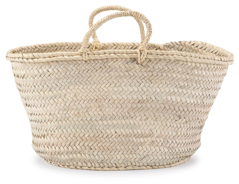 """Moroccan Straw Shopper Bag w/ Braided Rope Handles - 19""""Lx8.5""""Wx10""""H - Sahara: Handbags: Amazon.com"""