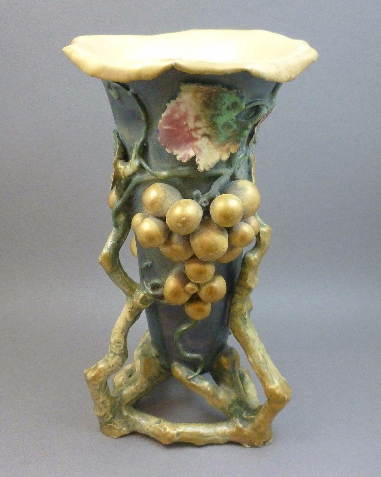 Antique art nouveau amphora art pottery grapes vase turn teplitz antique art nouveau amphora art pottery grapes vase turn teplitz austria bohemia reviewsmspy
