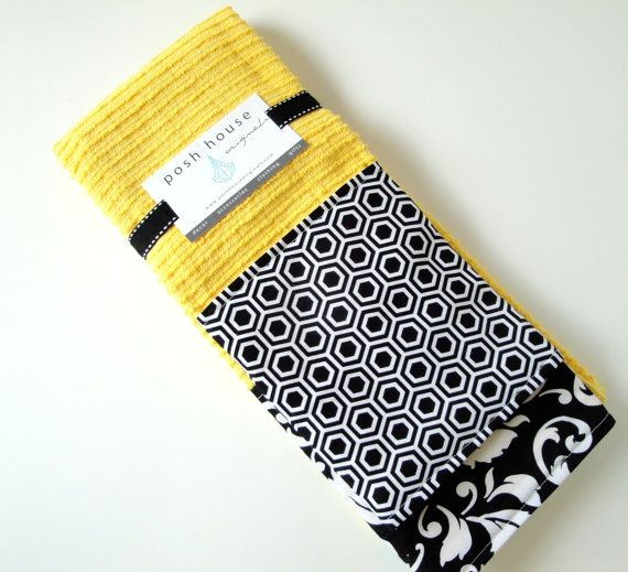 Contemporary Kitchen Towel Set Yellow Black And White Kitchen
