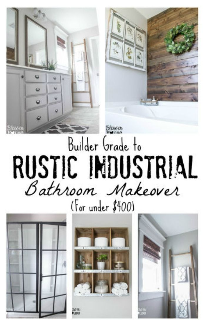 Bathroom Makeover Reveal Builder Grade Rustic Industrial And - Industrial bathroom doors