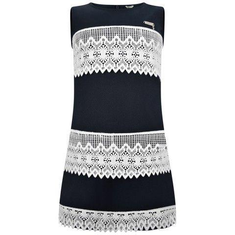 Guess Girls Navy & White Lace Striped Dress