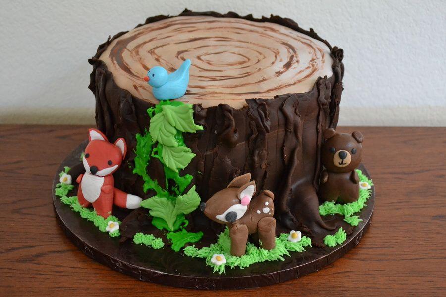 Tree Stump With Woodland Animals Bear Deer Fox