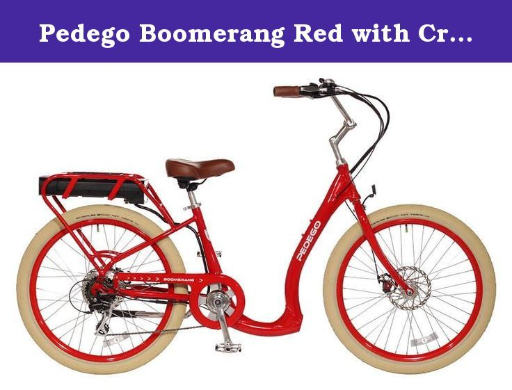 Pedego Boomerang Red with Creme Balloon Package 36V 15Ah. The Pedego Boomerang is the most accessible electric bike ever - making riding more fun and easy for everyone.