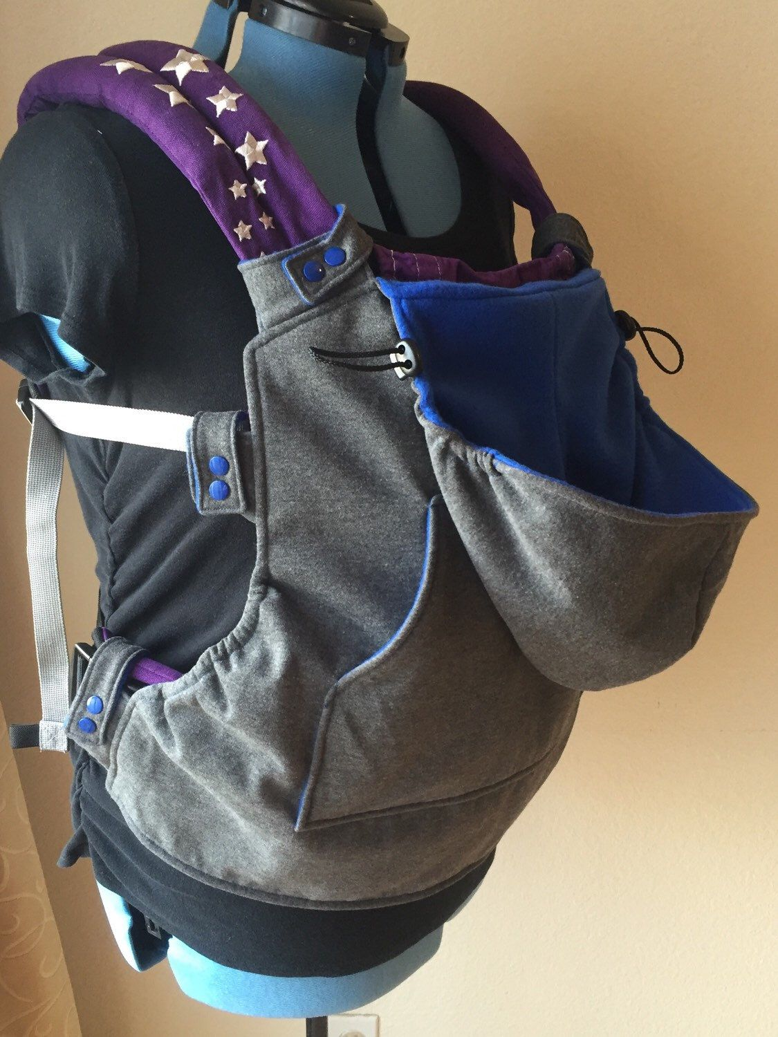 Snap On Hoodie for Soft Structured Baby Carrier Charcoal
