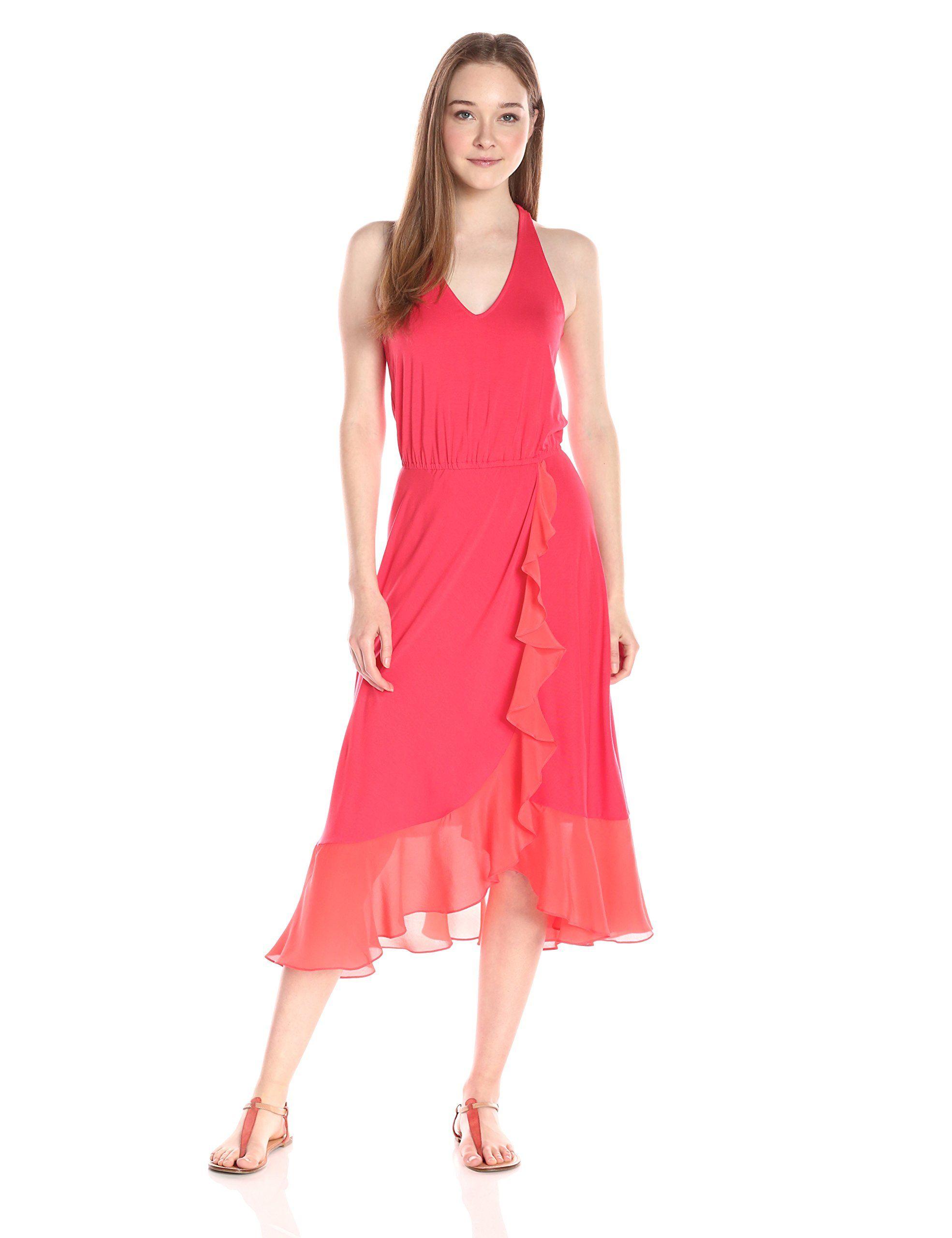 Ella moss womenus bella sleeveless ruffle skirt maxi dress chili x