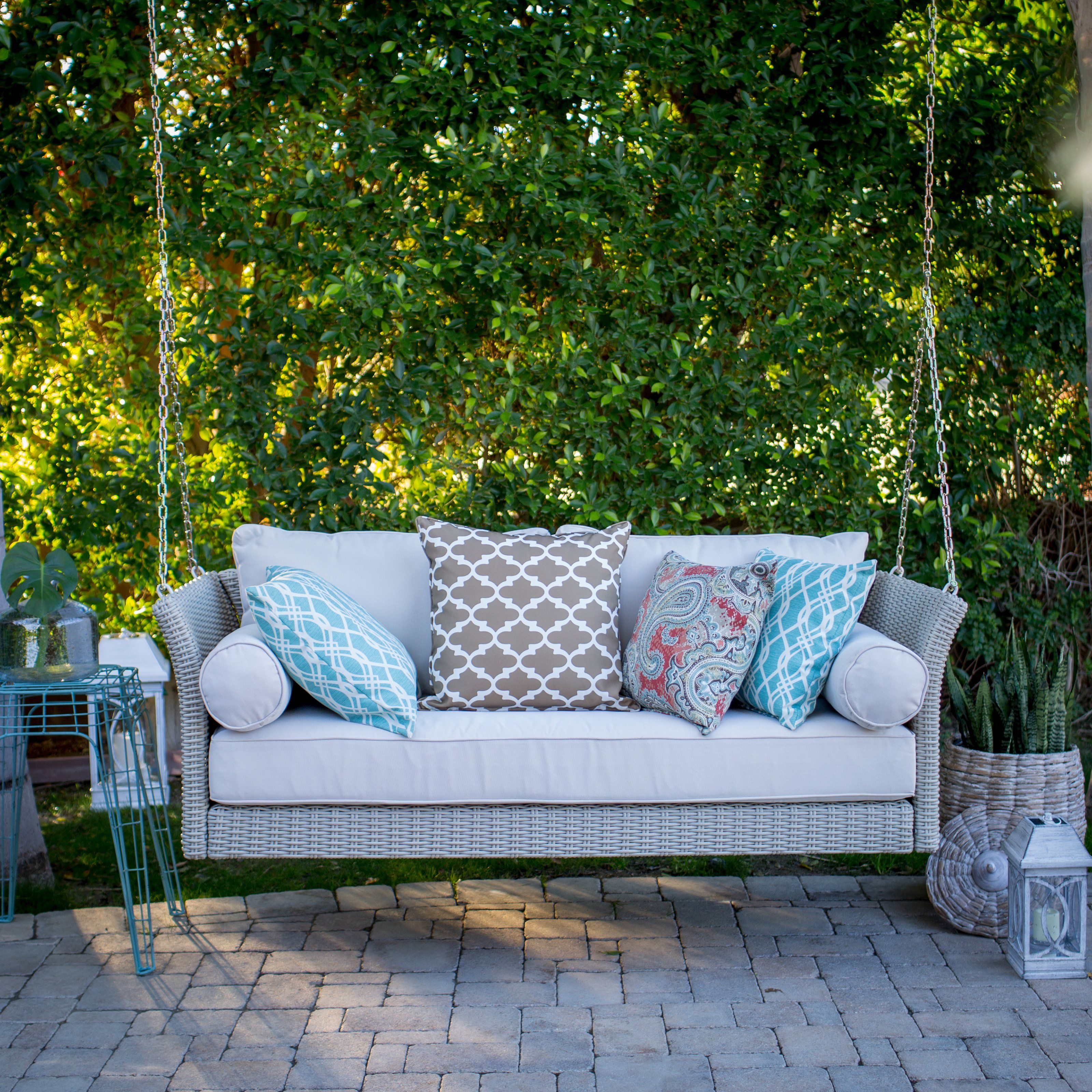 Belham Living Bellevue Deep Seating All Weather Wicker Porch Swing Bed With Cushion Porch Swing Bed Wicker Porch Swing Porch Swing
