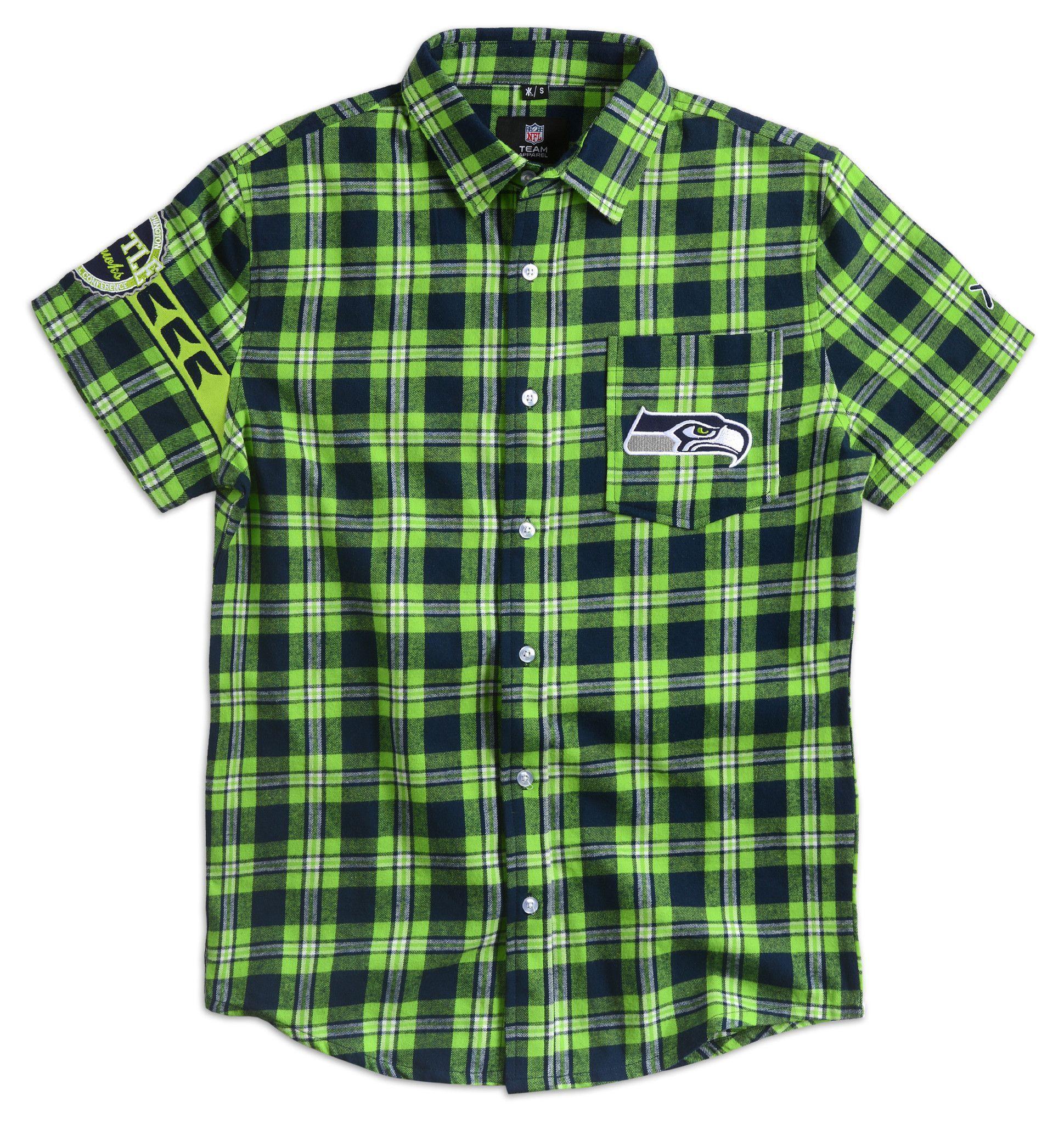 347244562 Seattle Seahawks Men s Wordmark Short Sleeve Official NFL Flannel ...