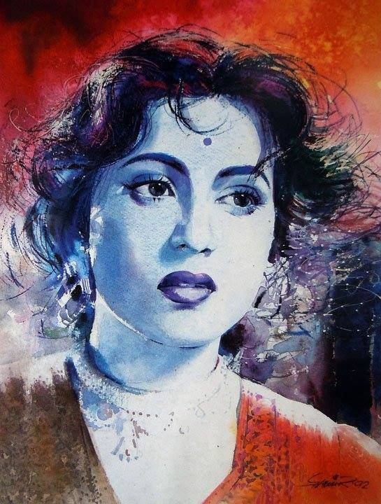 Madhubala By Samir Mondal One Of The Most Eminent Watercolour