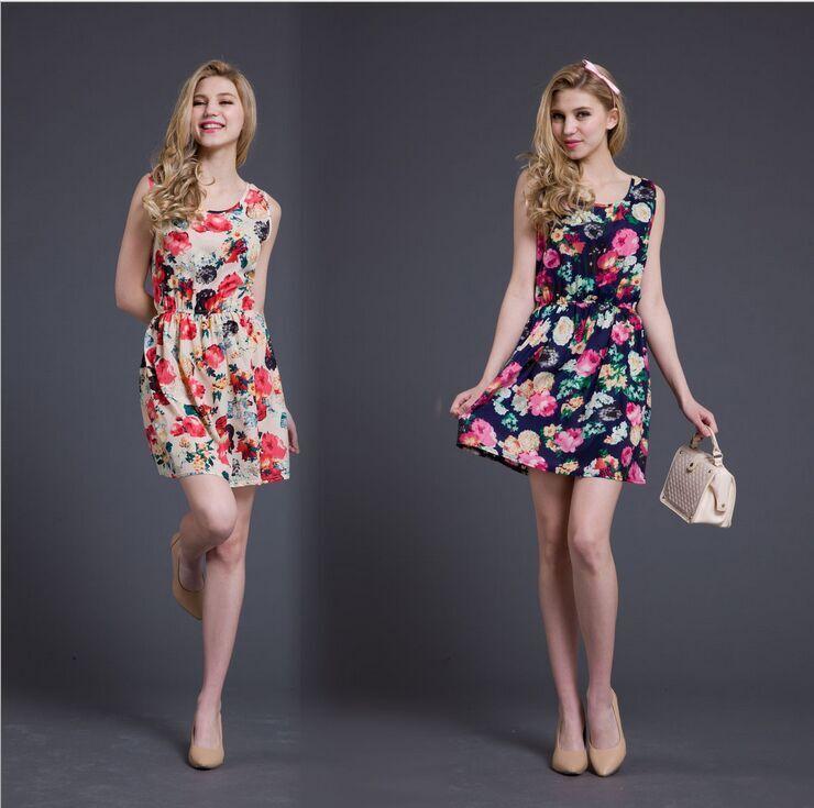 2015 New Summer High Quality Women Casual Bohemian Floral Cute Harajuku Leopard Sleeveless Vest Printed Beach