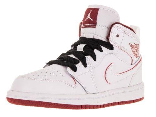 1710826a4 Nike Jordan Kids Jordan 1 Mid Bp White Gym Red Black Basketball Shoe 10.5  Kids US