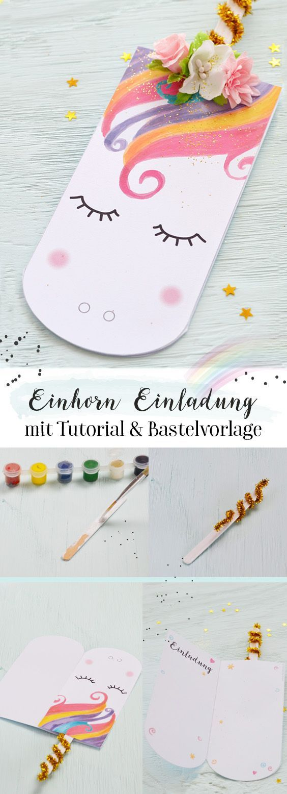 Süße Einhorn Einladungskarte zum Ausdrucken | Unicorn crafts ...