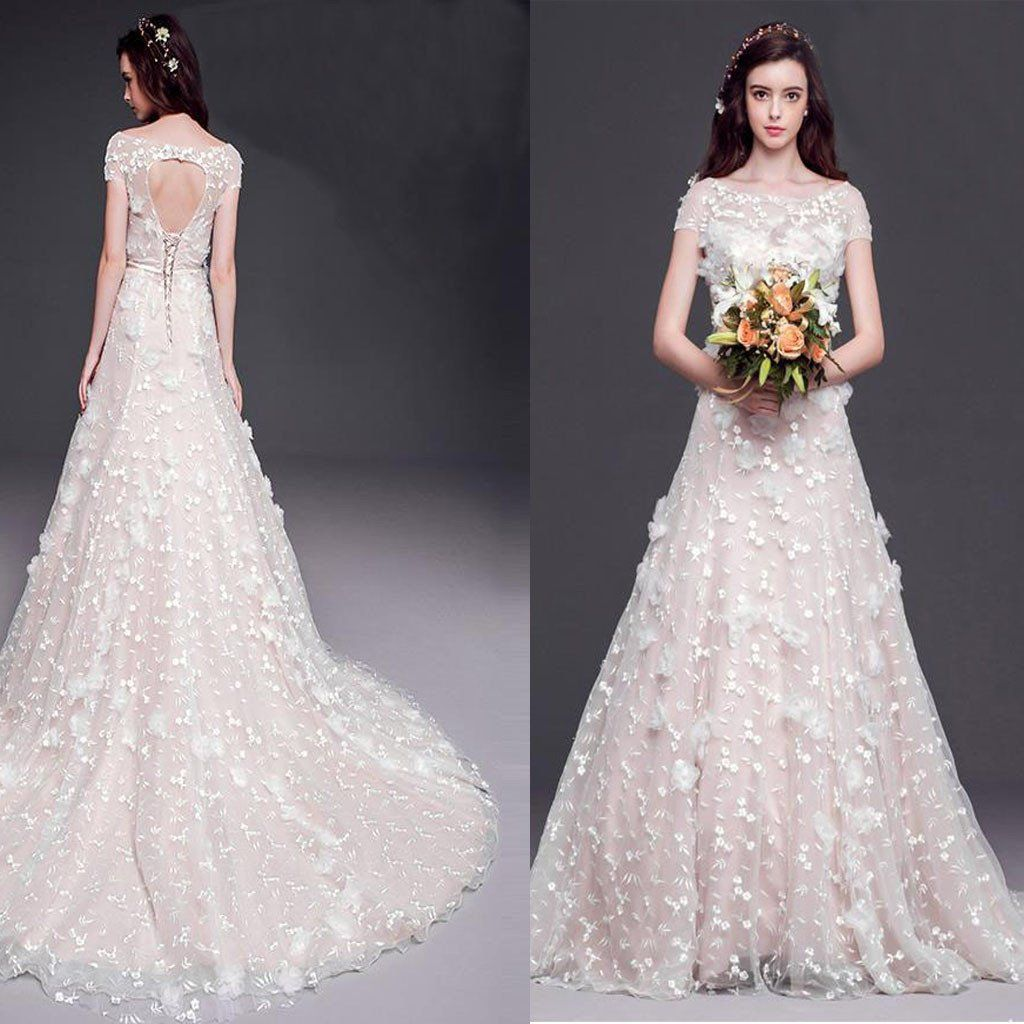 Long lace sleeve wedding dress  Elegant Aline Bateau Neck Cap Sleeve Keyhole Lace Up Back Appliques