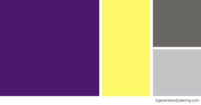 Violet With Light Yellow Light Grey And Charcoal Color Palette Perfect For A Summer Yellow Colour Scheme Wedding Color Schemes Summer Yellow Wedding Colors