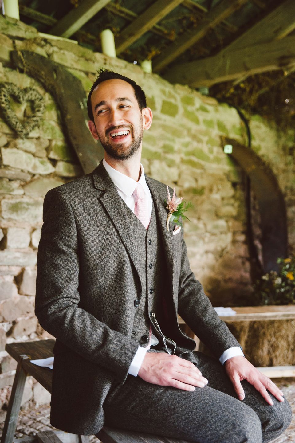 A Joy Filled Barn Wedding in Shades of Pink and Gold | Grey tweed ...