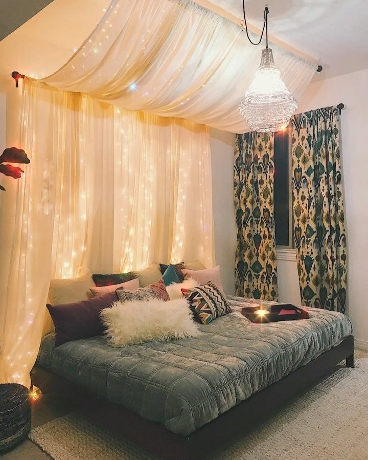 MR. KATE  on Instagram: Twinkling-fairy-lights-magical-Pinterest-Tumblr-bed-goals room transformation now Trending on a you tubes near you! #linkinbio #mrkate#Interior#decoration #fairylights