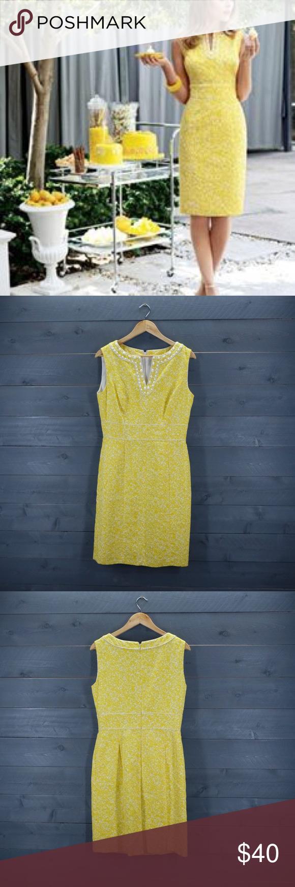 Tahari Yellow And White Brocade Sheath Dress Clothes Design Dresses Sheath Dress [ 1740 x 580 Pixel ]