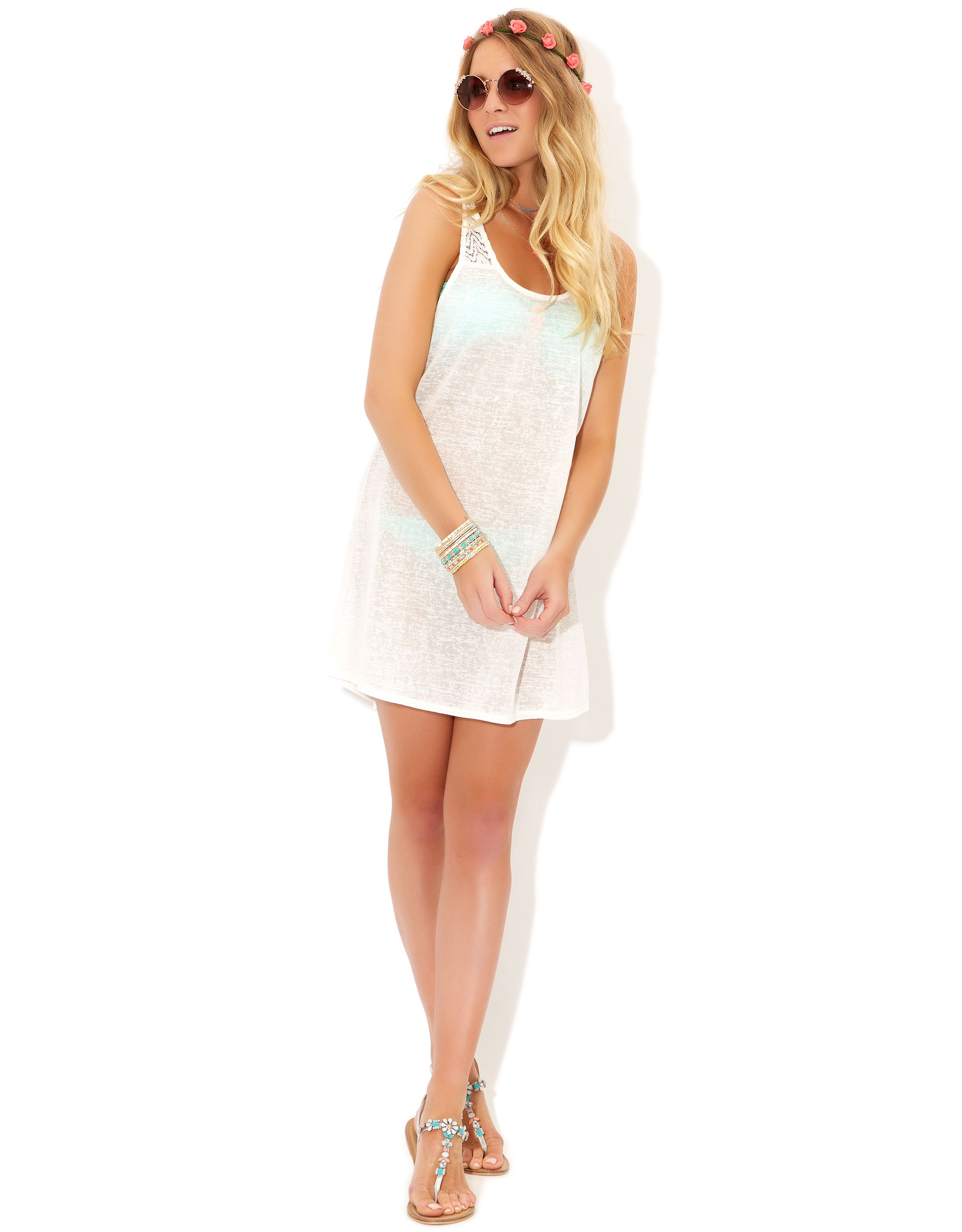 Lace Insert Vest Dress   White   Accessorize