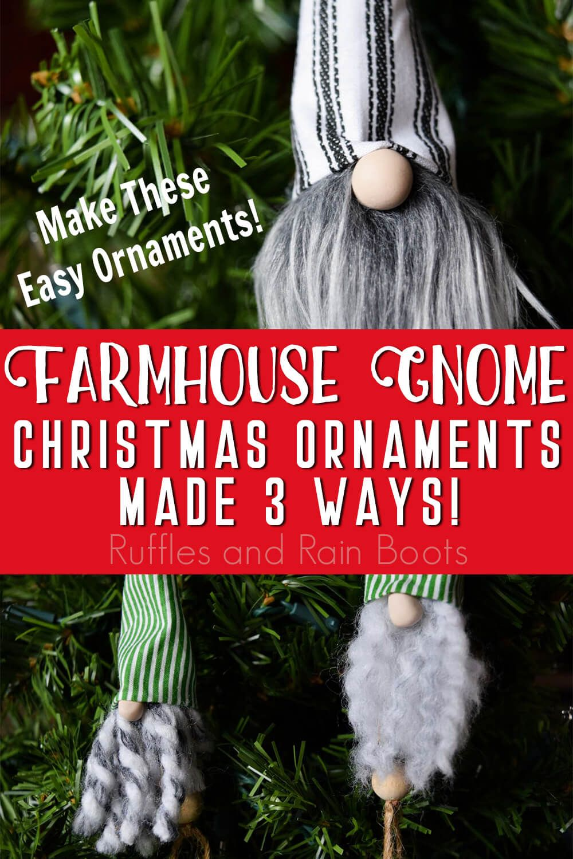 Make This Bead Nose Farmhouse Gnome Ornament 3 Ways Easy Ornaments Gnome Ornaments Ornaments