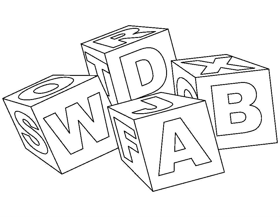 Alphabet Toy Block Letters Abc Coloring Pages For Kids Printable Toys