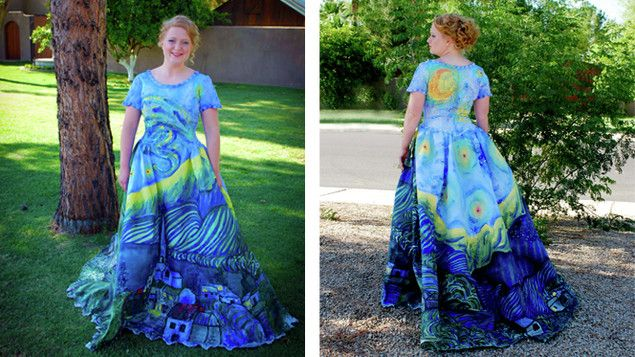 Teen handpaints her prom dress! WOW! She picked the dress up at a ...