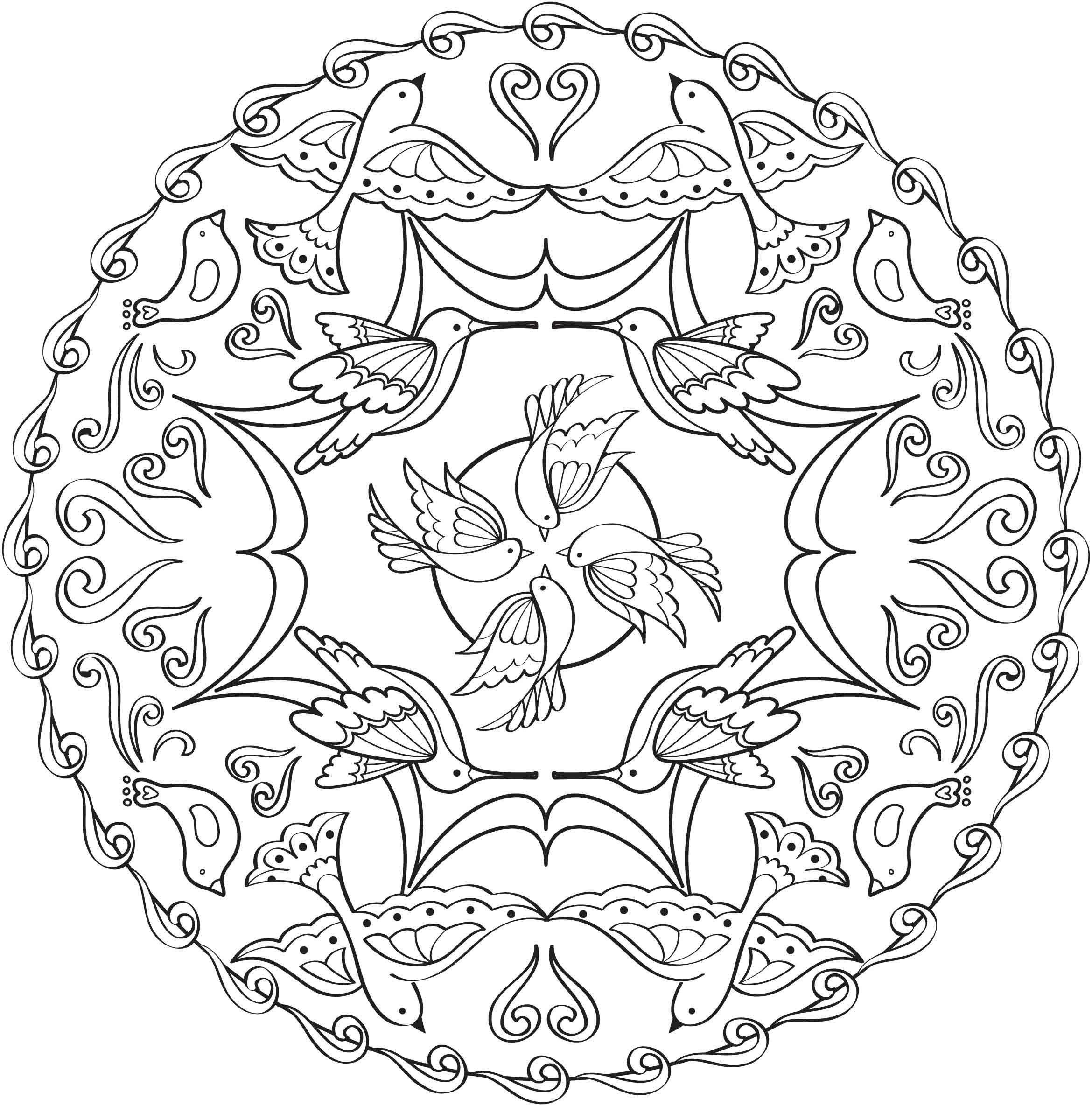Adult Coloring Pages Bird Mandala Color Mandala Patterns