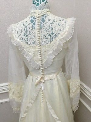 70s Antique Ivory Lace Bridal Originals Wedding Gown Vintage Sz 12 ...