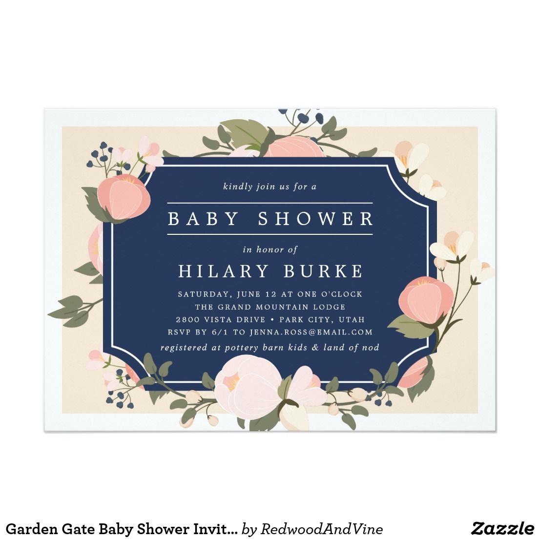 Garden Gate Baby Shower Invitation Baby Shower Invitations Birth