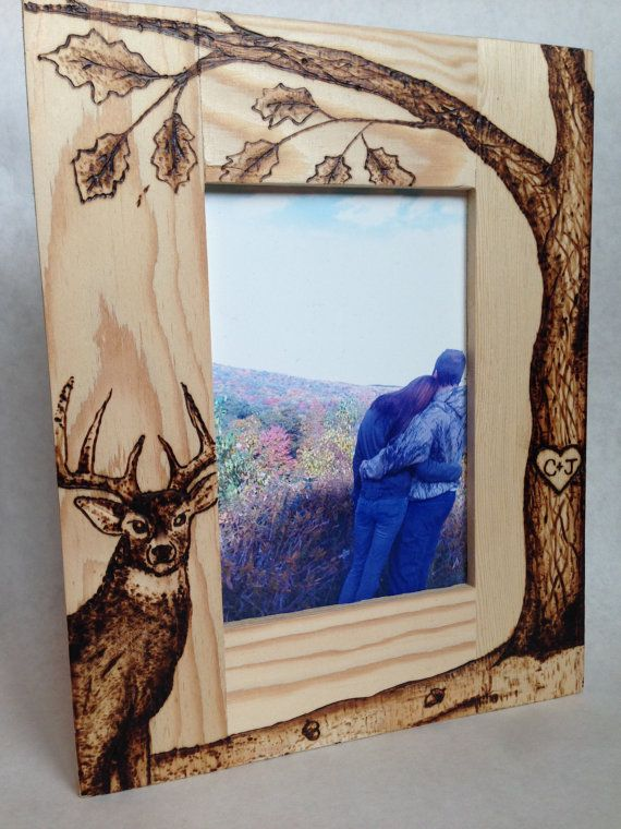 Personalized Wood Burned Photo Frame Featuring Deer   Pinterest ...