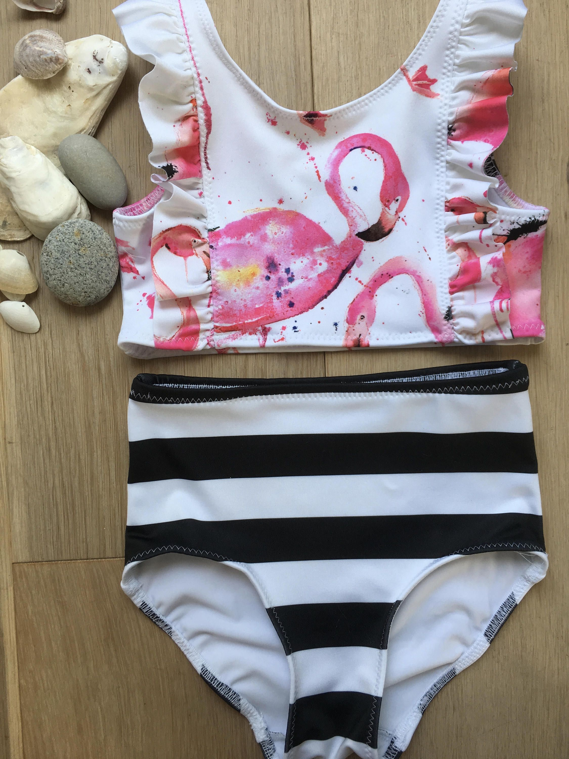 7bf1bbdc6edf4 Girls Peplum Swimsuit   Girls Swimwear   Toddler Girls Swimsuit   Two Piece  Swimsuit  Pink Flamingo and stripe Peplum two piece by GONE2QUONNIE on Etsy