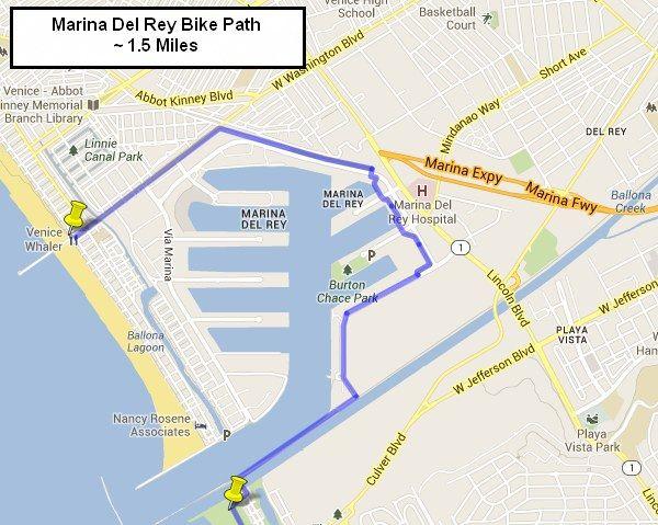 Marina Del Rey Bike Path Starts Where Washington Blvd Meets The Venice Beach Pier