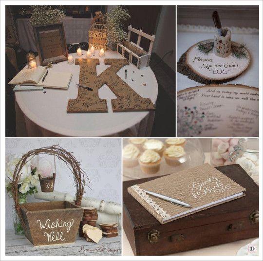mariage rustique champ tre livre d 39 or lettre en papier mache panier messages rondin de bois. Black Bedroom Furniture Sets. Home Design Ideas