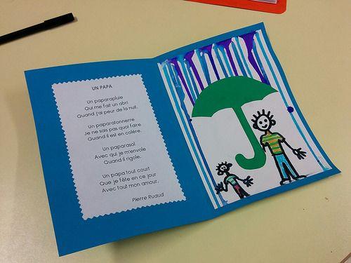 Carte parapluie pour la f te des p res cole arts - Carte fete des peres maternelle ...