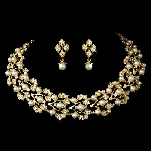 Bridal Wedding Jewelry Set Necklace Rhinestone Pearl Leaf Gold Ivory
