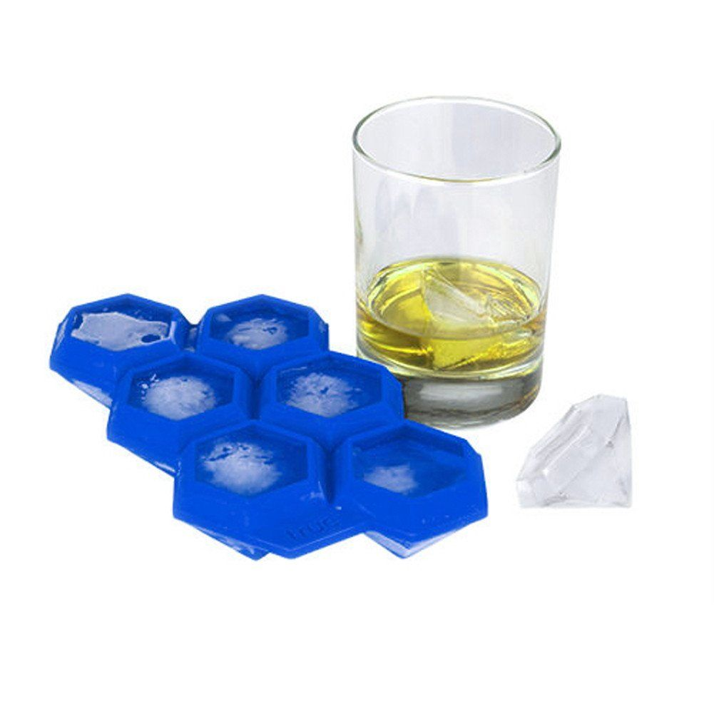 Protable 6 Cup Silicone Ice Cube Tray Mold True Fabrications Iced Out Diamond Shape Ice Cream Cube Maker Bar Mould Kitchen Tool Diamond Ice Cube Tray Silicone Ice Cube Tray Ice Cube