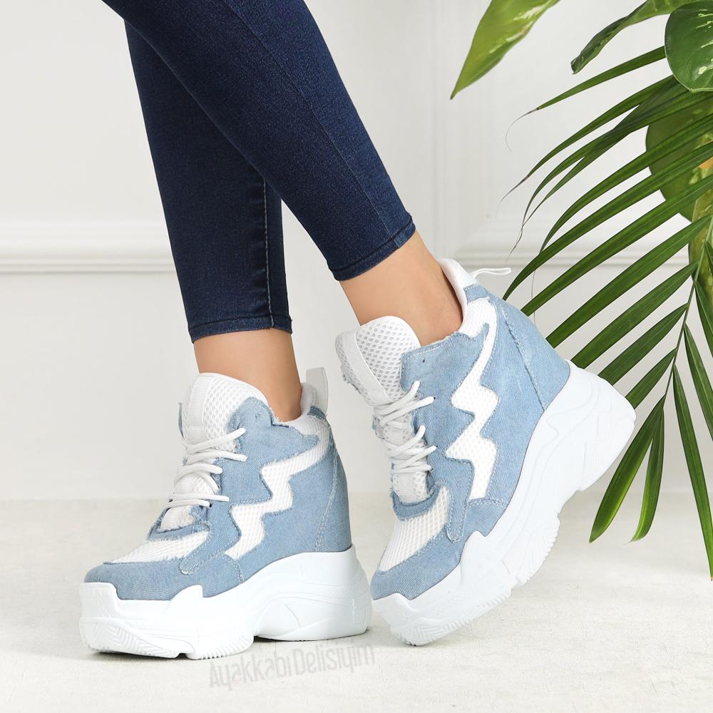 Gizmo Kot Rengi Kalin Tabanli Kadin Spor Ayakkabi Ayakkabilar Sneaker Mavi Ayakkabilar