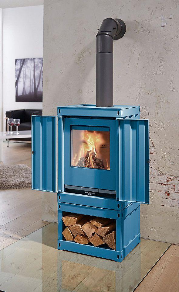 Kaminofen »Rotterdam«, Stahl blau, 5 kW, ext. Luftzufuhr ...