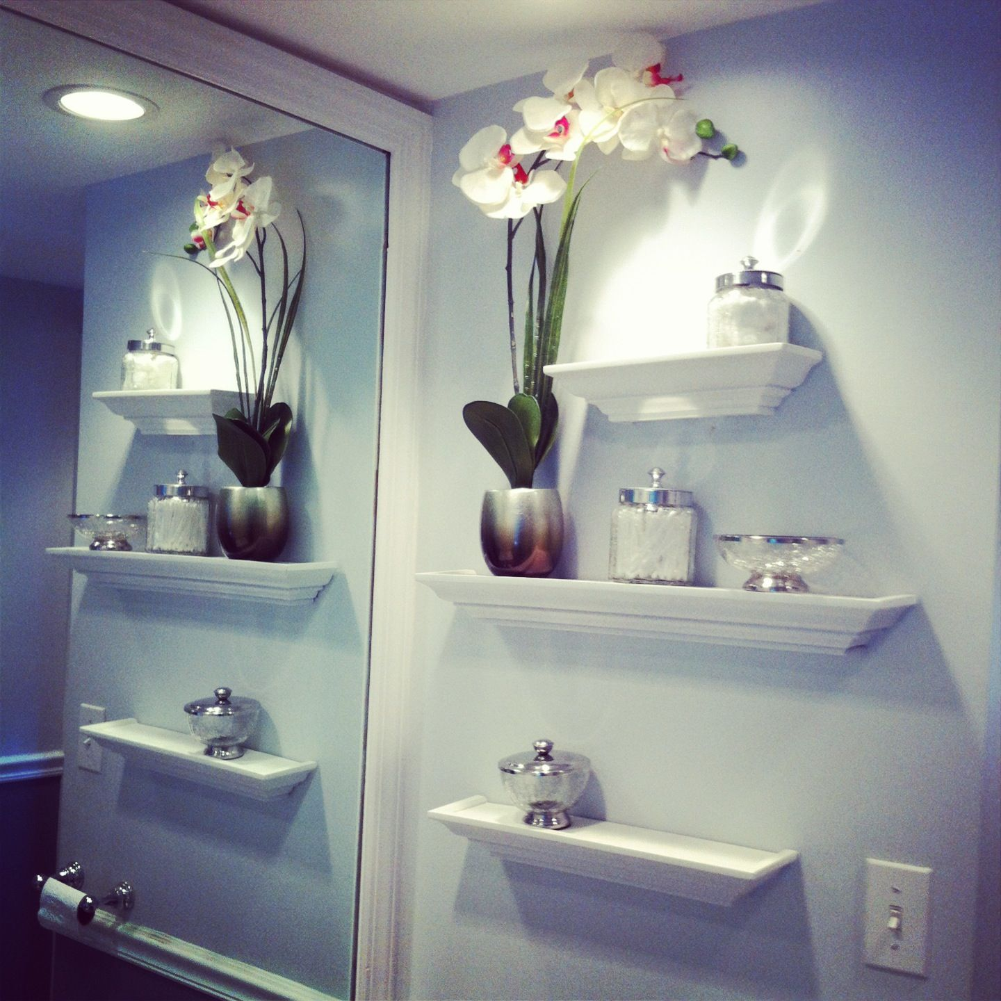 Bathroom Wall Decor, Floating Shelves, Glass Jars, Orchid
