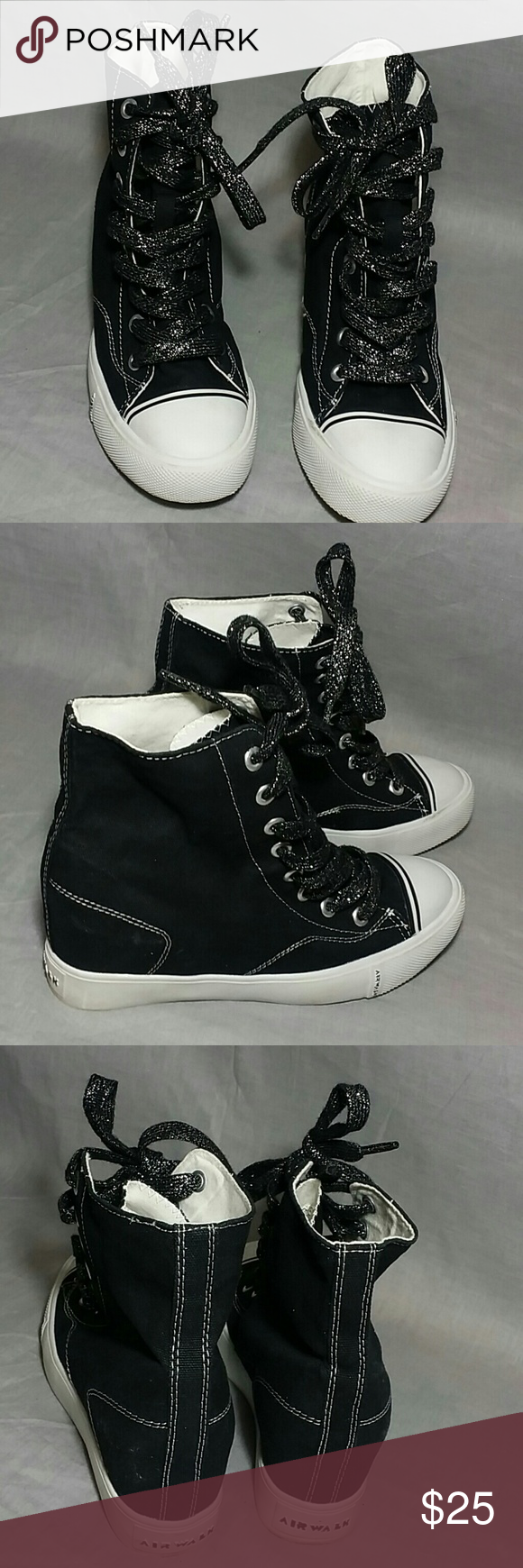 fff68b3bd4c1 Women s Airwalk High Top Wedges 7.5 M Canvas Lift up shoes heels inside  2.5