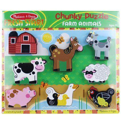 Amazon.com: Melissa & Doug Farm Wooden Chunky Puzzle: Toys & Games