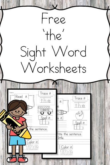 "2 Free ""The"" Sight Word Worksheets Easy Download! Sight"