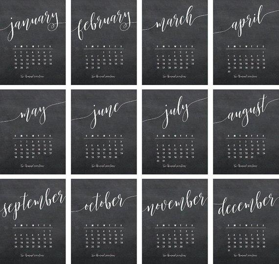 2020 Refill Desktop Calendar In 2020 Chalkboard Calendar Chalkboard Hand Lettering Desktop Calendar
